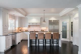 chaise ilot central painted white inset transitional kitchen san francisco by lazy suzan designs