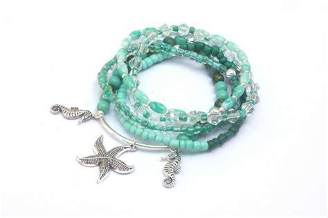 starfish beaded bracelets seahorse charm bracelet beach by PYKNIC2