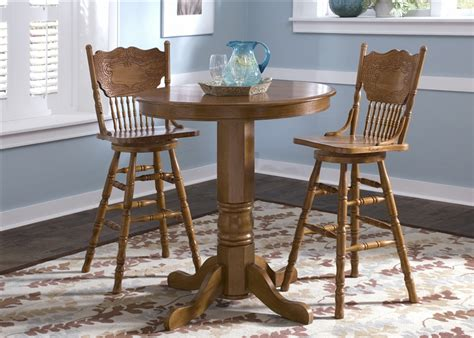 Nostalgia Round Pub Table 3 Piece Dining Set With 30 Inch 30 Dining Table Set