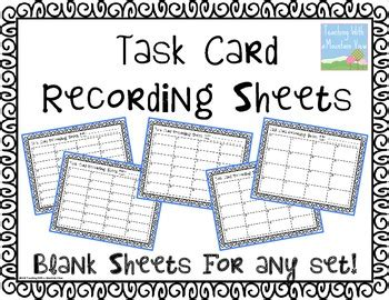 Free Blank Task Card Recording Sheets By Teaching With A Mountain View Task Card Template
