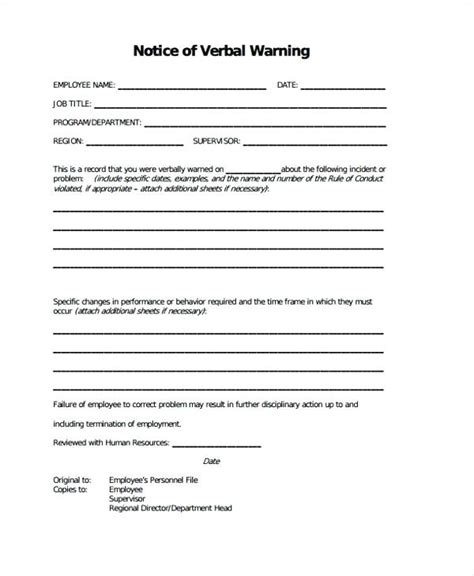 Verbal Warning Template Letter Azserver Info Verbal Written Warning Template