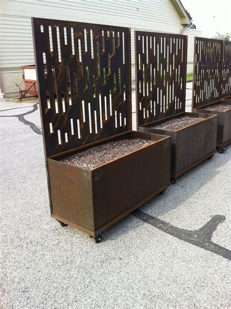 Privacy Fence Planter Box by Planters With Decorative Laser Cut Corten Steel Privacy