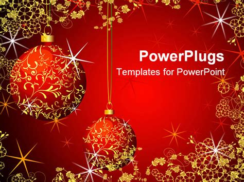 powerpoint template christmas theme with red and gold