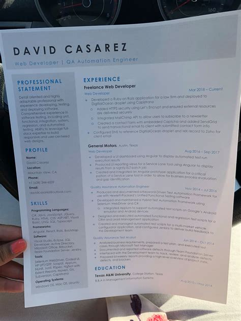 David Casarez Resume homeless out resumes gets 200 offers