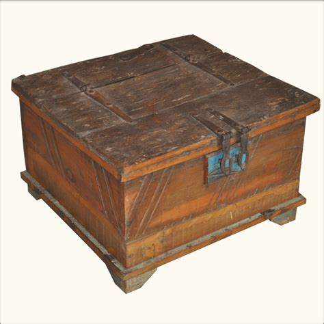 reclaimed wood distressed rustic square storage trunk