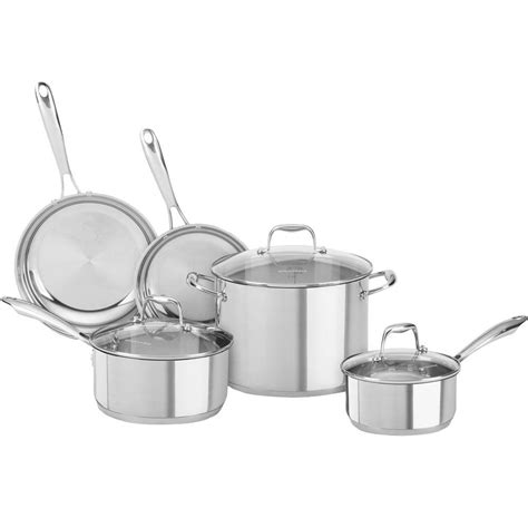 kitchenaid induction cookware kitchenaid 8 polished stainless steel cookware set with lids kcss08ls the home depot