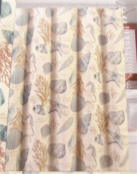 Seashell Shower Curtain by New Quot Sand Point Quot Seashell Fabric Shower Curtain With