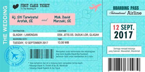 desain undangan pernikahan tiket undangan nikah boarding pass model tiket pesawat nirwana