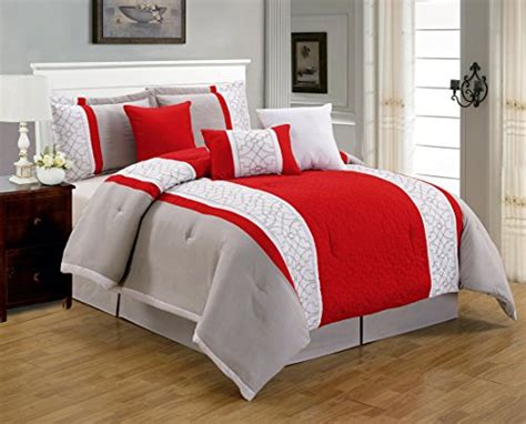 red and white comforter sets king 7 pieces luxury red beige and white quilted comforter set