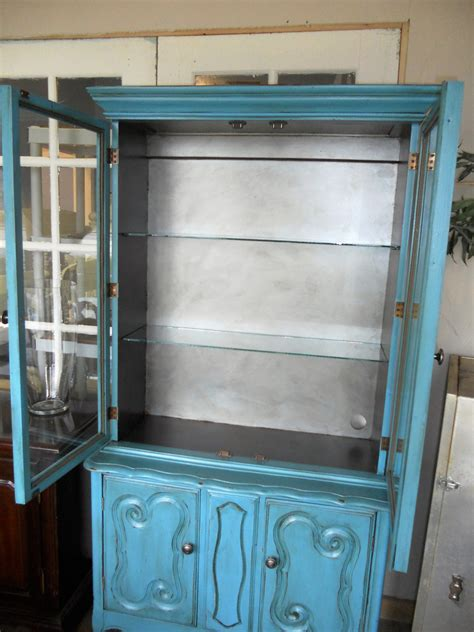small china cabinet for sale turquoise blue small hutch or china cabinet vintage chic