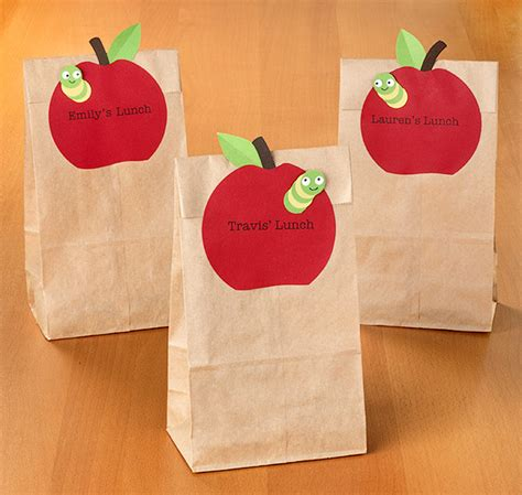 Paper Lunch Bag Crafts - how to back to school lunch labels