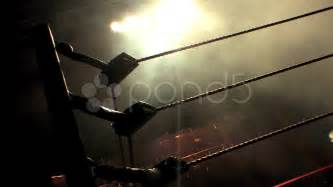 Pro wrestling ring ropes silhouette and smoke hd stock video 10878774