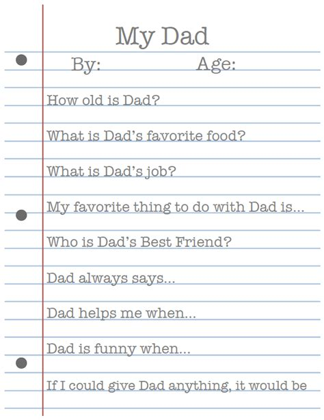 printable dad questionnaire my dad father s day printable