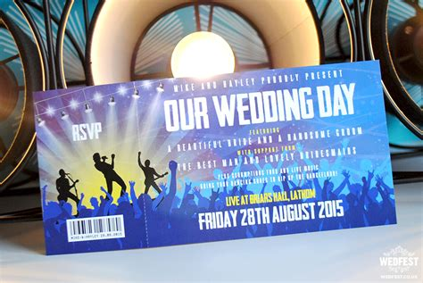 wedding invitations gig tickets concert gig ticket wedding invites wedfest