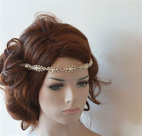 Wedding Hair With Headband by Wedding Hair Accessories Rhinestone And Pearl Headband