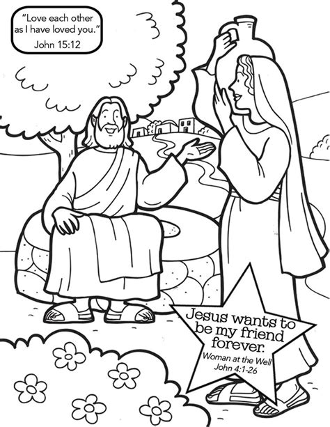 jesus and the samaritan at the well coloring pages jesus with samaritan at the well coloring page