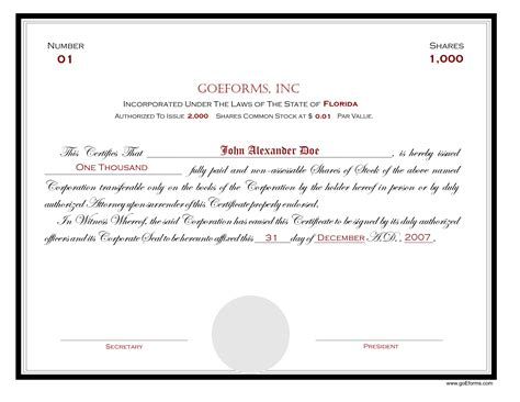 share certificate template word ordinary share