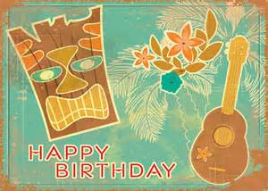 hawaiian happy birthday greeting card vintage tiki and ukulele tatyana scherbanova