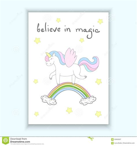 magic card template vector unicorn print for believe in magic card stock
