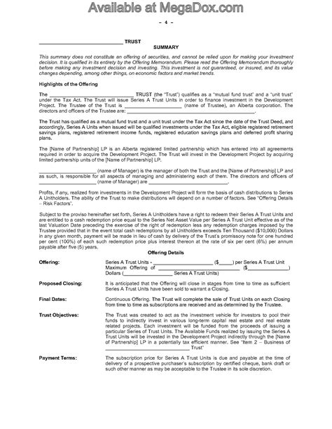 Alberta Offering Memorandum For Real Estate Investment Trust Legal Forms And Business Real Estate Investment Memorandum Template