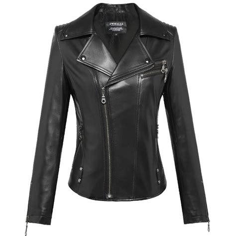 womens black moto womens black leather moto jacket cw650016