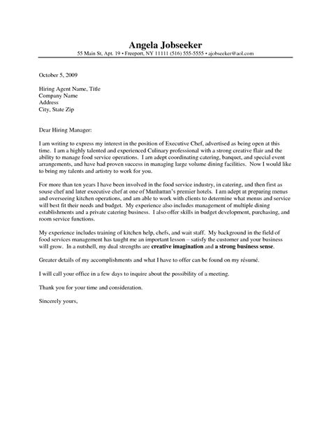 cover letter template chef cover letter sle for chef guamreview