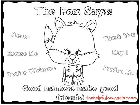 Social Skills Coloring Pages manners matter what does the fox say coloring page