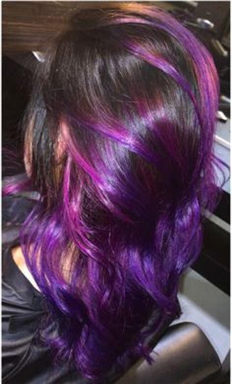 periwinkle hair highlights purple balayage hairstyle on long hair vivid hair color