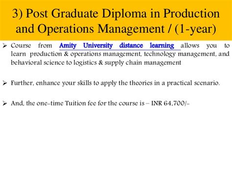 Mba In Supply Chain Management Distance Learning India by Supply Chain Management Courses In India Distance Learning