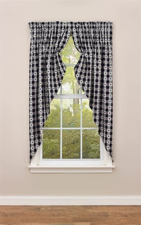"""Checkerboard Star Lined Gathered Window Curtain Swag 72"""" x 63"""""""