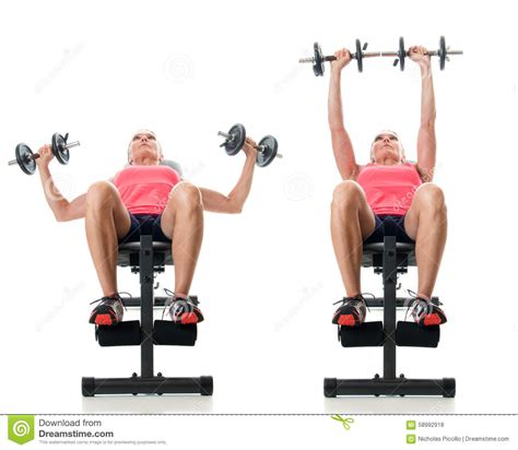 bench press only workout inclined dumbbell bench press stock photo image 58992918
