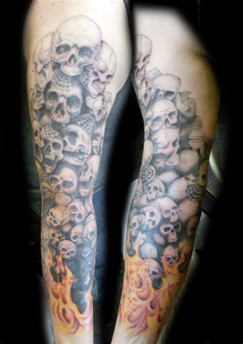 skull half sleeve tattoo designs scary skull sleeve tattoos skull sleeve designs