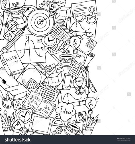 doodle learn sign in mathematics science theme pattern stock vector