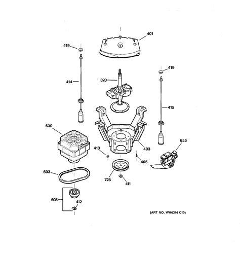 ge washer parts diagram suspension drive components diagram parts list