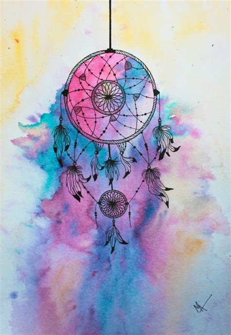 watercolor dreamcatcher tattoo catcher media watercolor and black sketch pen