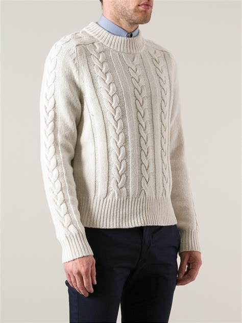 white cable knit sweater acne studios brent cable knit sweater in white for lyst