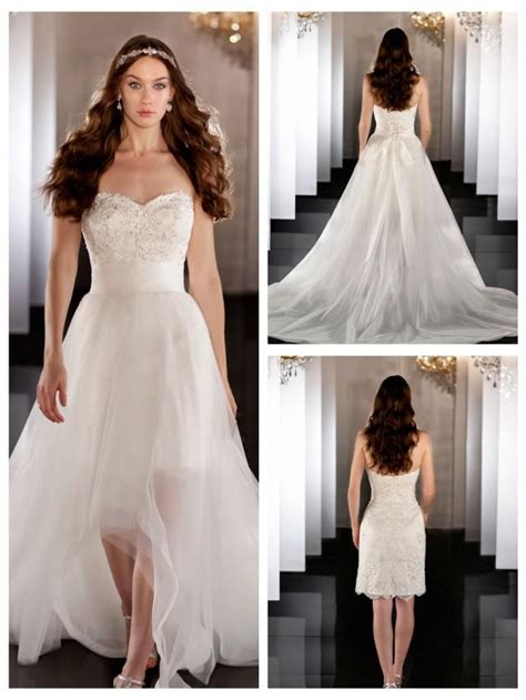 sweetheart beading coctail length bridal gown with