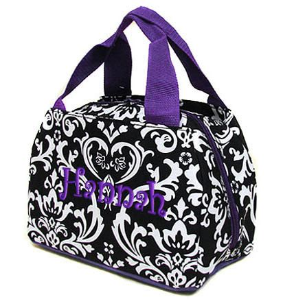 personalized lunch bag damask black purple insulated