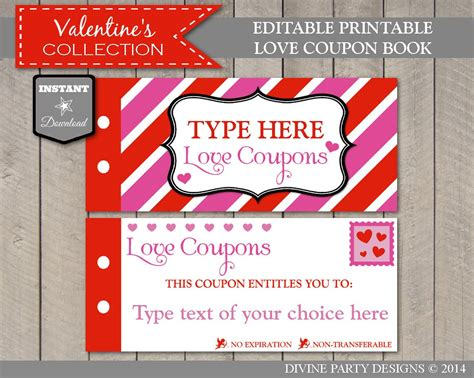 Sale Instant Download Editable Printable Love Coupon Book Free Editable Coupon Template