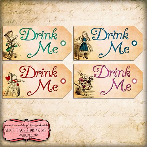 drink me tag alice in wonderland tags labels perfect for