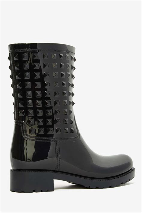 gal camden studded boot black in black lyst