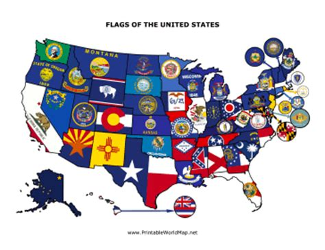 free printable us state flags state flag map