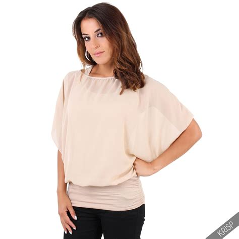 krisp womens oversized batwing chiffon blouse tank top 2 in 1 plus size ebay