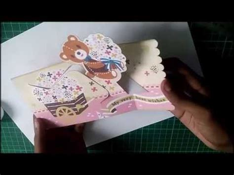 wishing teddy bear pop up card d i y free template
