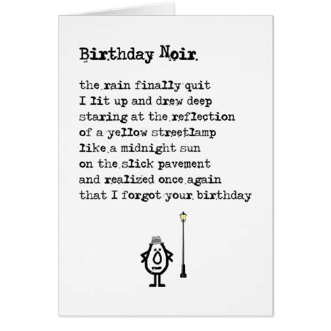 poems for late xmas gifts birthday noir a belated birthday poem card zazzle