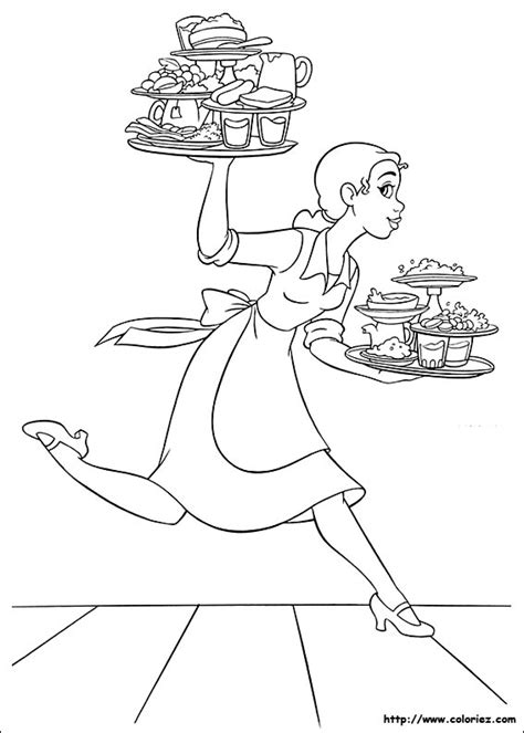 Coloriage Coloriage De Tiana Serveuse Au Duke S Dinner From The Princess And The Frog Free Coloring Sheets
