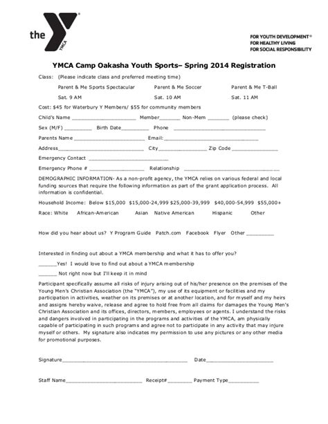 Ymca C Oakasha Spring Parent Me Sports Registration Form Youth Sports Scholarship Application Template