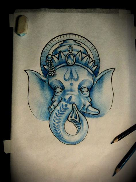 blue ganesha tattoo blue ganesha head tattoo design by artur nakolet