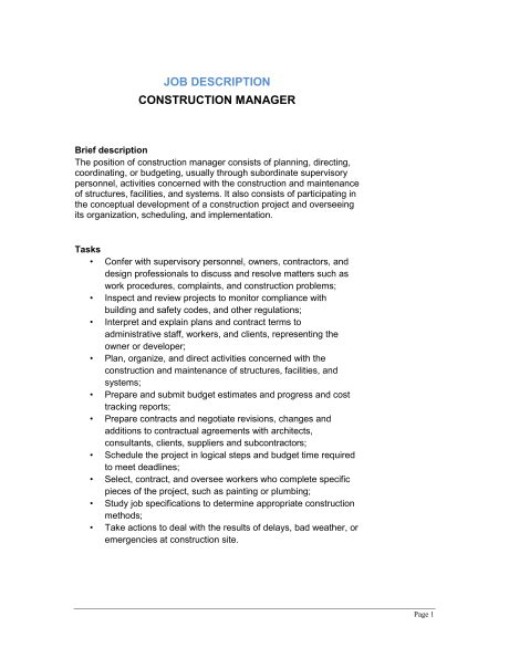 job description for construction project manager and job