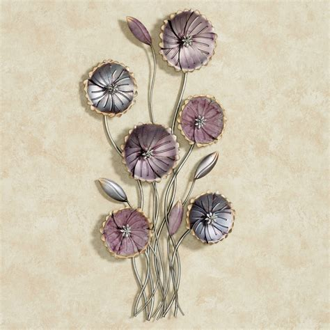 charming floral array purple metal wall